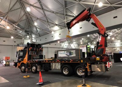 crane truck used to install taylex wall tank