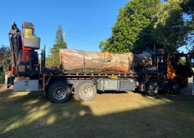 flat top crane truck carrying very large tree trunk