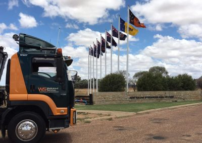 front part of walkabout truck with different flags at the back