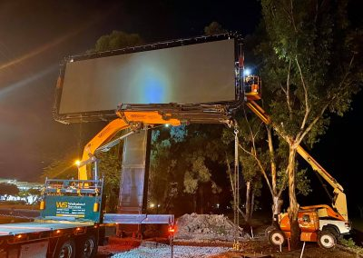 Walk about services crane fitting large rectangle digital signage